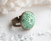 Urban Gardener ring with vintage Czech glass cabochon