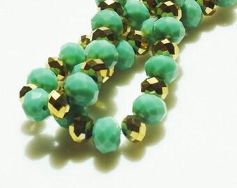 Mint and Gold Crystal Bracelet / Mint / Gold / Mint Bracelet / Crystal Bracelet / Pastel / Pastel Bracelet / Blue Green Bracelet