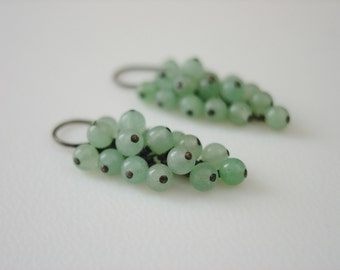 Caviar / Earrings / Cascade / Cluster / Gem Cluster / Grape Cluster / Waterfall / Green Aventurine / Semiprecious Gemstones / Wirewrapped
