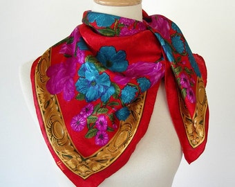 Vintage 1980s Silky Honey Scarf  Red Gold Purple Turquoise Flowers Hand washable