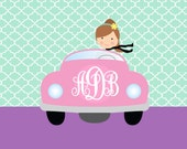 Personalized custom girl stationery monogram car girly twin thank you whimsical notecards birthday gift