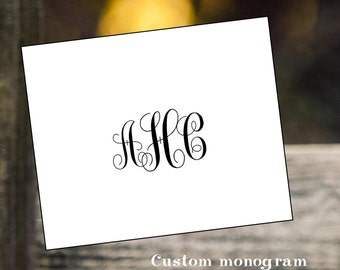Custom  monogram notecards personalized stationery wedding bridal birthday christmas