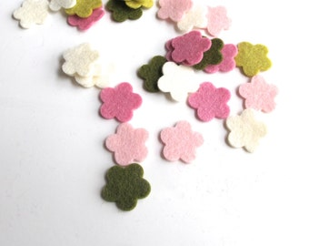 Pink Felt Flowers, Blossom Color Story, Set of 30 Die Cuts, Pure Wool Felt, Applique, Confetti, Party Supply, Hair Clips, DIY Kit