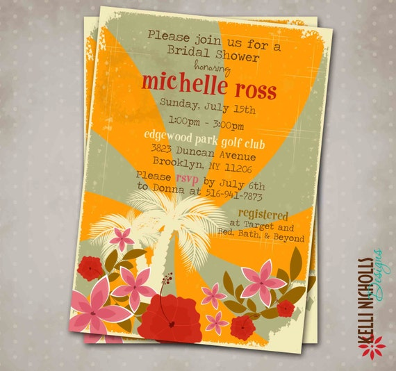 Custom Hawaiian Luau Party Bridal Shower, Wedding Shower Invitation