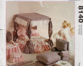 McCalls 8140  Barbie Doll FURNITURE Pattern Bedroom Living Dining Room Sewing Pattern for 11 1/2  Inch Dolls UNCUT