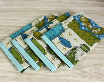 Cloth Napkins Set of 4 Retro Blue Green Kitchen Print Vintage Linens