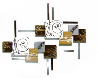 Stylish Unique Vanilla & Brown Contemporary Beautiful Abstract Floral Wall Sculpture Wood Art with Metal