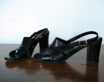 ITALIAN LEATHER CHUNKY heels, 8