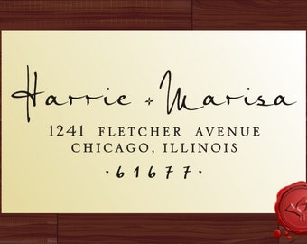 Custom calligraphy personalized  address wood handle mounted rubber stamp - style 9013B