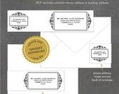 INSTANT DOWNLOAD Printable Modern Flourish Address Label, Editable Address Label Template