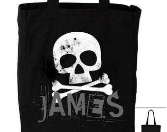 Trick or treat bag personalized skull cross bones DARK - hip grunge halloween bag