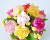 Blooming Miniature Roses Polymer Clay Flowers Supplies in weaving brown basket