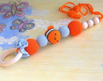 Teething toy, Orange Fish teether, crochet baby toy, eco friendly baby toy