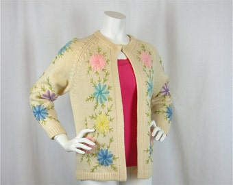 Vintage 60s Embroidered Spring Wool Cardigan, Sz L