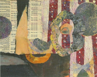Time to Think, a Collage, 8x10 inches on Paper, Matted to 11x14, by Ohio Artist Karen Koch