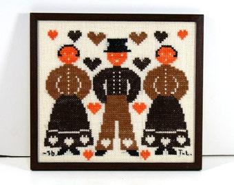 Vintage Framed Cross Stitch - Scandinavian Folk Art, Man and Two Women, Stylized Graphic Pattern