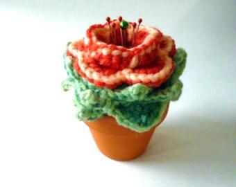 Coral Cactus Flower Crocheted Pincushion