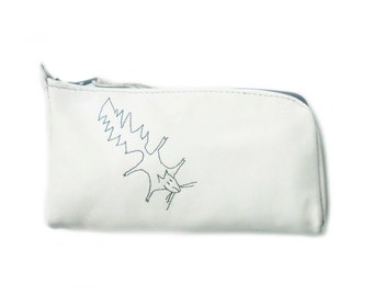 white leather pouch squirrel glasses phone case