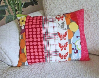 Shabby Chic Pillow Cover, Patchwork Pillow Cover, Cottage Chic Decor, Red Cushion Cover, Nursery Decor, Bright Pillow Cover - 12 x 16
