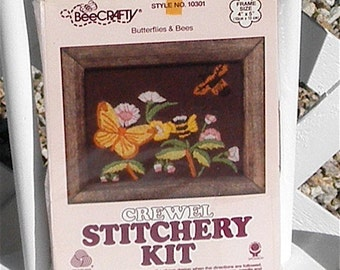 Crewel Stitchery Kit Butterflies and Bees Embroidery Kit Vintage