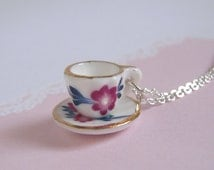 Plum Flower Tea Cup Necklace, Miniature Cup Pendant On Silver Chain Or Antiqued Brass Chain, Tea Party Jewelry