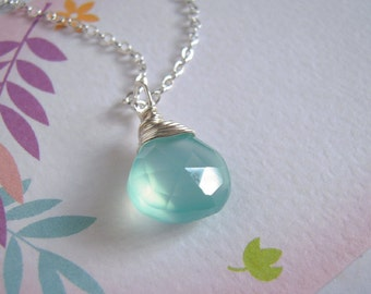 Aqual Blue Chalcedony Necklace, Silver Wire Wrapped Pendant, Gemstone Jewelry