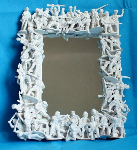 Toy Soldier Mirror Boys Room Decor Funky Decor White Repurposed Toys  Toy  Soldier Mirror Boys. Mirror For Boys Room