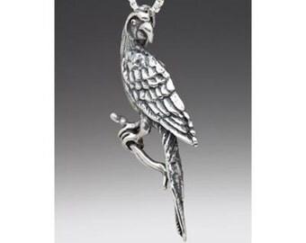 Animal Jewelry Bird Jewelry Bird Necklace Silver Parrot Necklace Macaw Parrot Charm Bird Pendant Bird Jewelry Parrot Jewelry Silver Bird