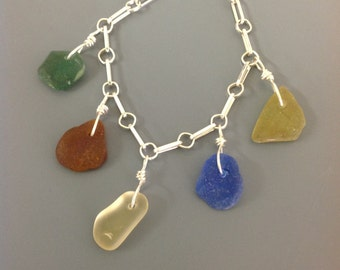 Green, Brown, Lt Yellow, Cobalt Blue and Yellow Sea Glass Bracelet Sterling Silver Chain, beach glass bracelet, colored sea glass bracelet