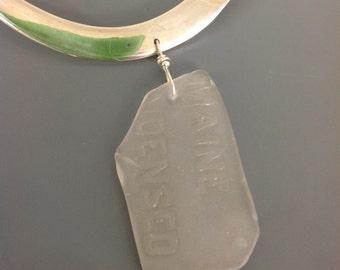 Maine condensed milk sea glass necklace