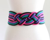 80s Stripe Braided New Wave Indie Punk Velcro Belt Accessory . ML . Abox . No.660.11.24.13