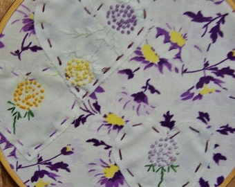 Vintage 1930's Embroidery and Applique in Hoop, Wall Hanging, Feedsack, Lavender, Yellow