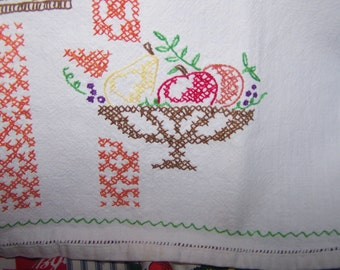 "Perfect ""Tuesday"" Embroidered Cotton Towel, 1950's, Cheese and Fruit Bowl"