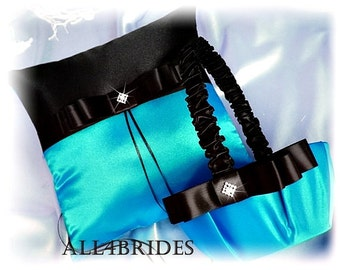Turquoise and Black Wedding Ring Pillow and Basket ,  Flower Girl Basket and Ring Cushion Set, Wedding Decorations