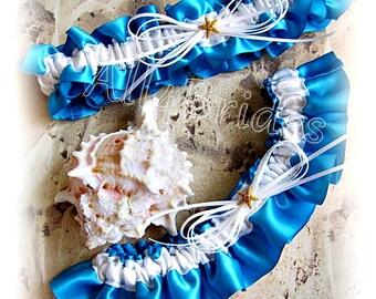 Turquoise starfish wedding bridal leg garter set, beach wedding bridal accessories