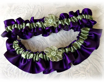 Wedding bridal garter set, green and grape purple plum and green garter belt set.