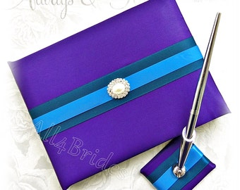 Wedding Guest Book Purple, Teal and Turquoise, Paper Goods