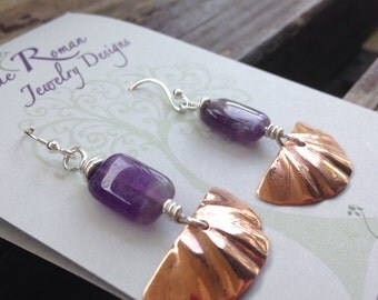 Hand forged copper, amethyst wire wrapped earrings