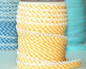 Double fold crochet edge bias tape, crochet bias tape, lace bias tape, yellow bias tape, yellow gingham bias tape, yellow bias binding