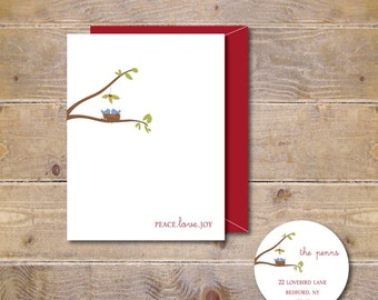 Christmas Cards . Holiday Cards  - Peace, Love and Joy