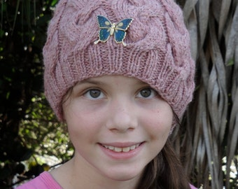 Dusty Rose Cable Hat With Butterfly Brooch