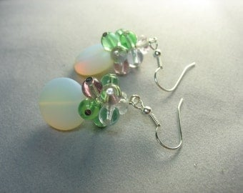 frosted opalite glass earrings capped with glass bead cluster ... enchanted moon