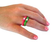 hot pink and silver ring,  rubber jewelry