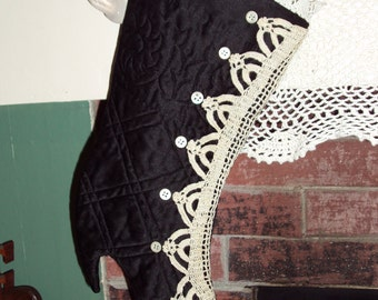 Black Quilted & Vintage Lace Victorian Christmas Stocking All Buttoned Up