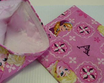 2 pc set Reusable Sandwich and Snack Bag Disney Frozen Glitter Pink