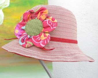 NEW BUCKET  STYLE hat--- SunHat---SummerHat---RibbonHat---red color....