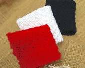 Cotton Crochet Washcloth Set of 3
