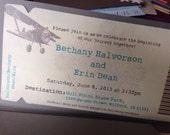 Boarding Pass Save the Date. Destination Wedding Invitation.  DEPOSIT: Vintage Airplane Design