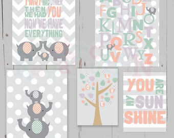First we Had Each Other Pink Grey Elephant Nursery Art  Print Set Baby Girls Room Decor