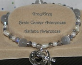 BRAIN CANCER Awareness GRAY Grey Asthma Stretch Bracelet Hope Ribbon Heart Charm